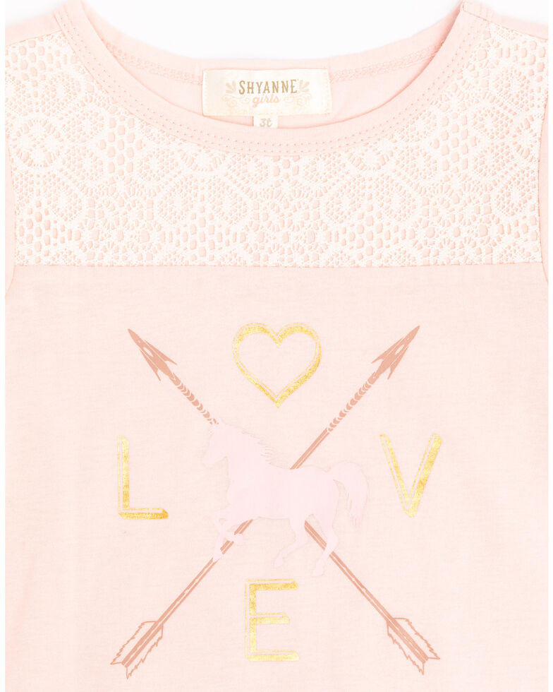 Shyanne Toddler Girls' Pink Love Horse Graphic Top, Light Pink, hi-res