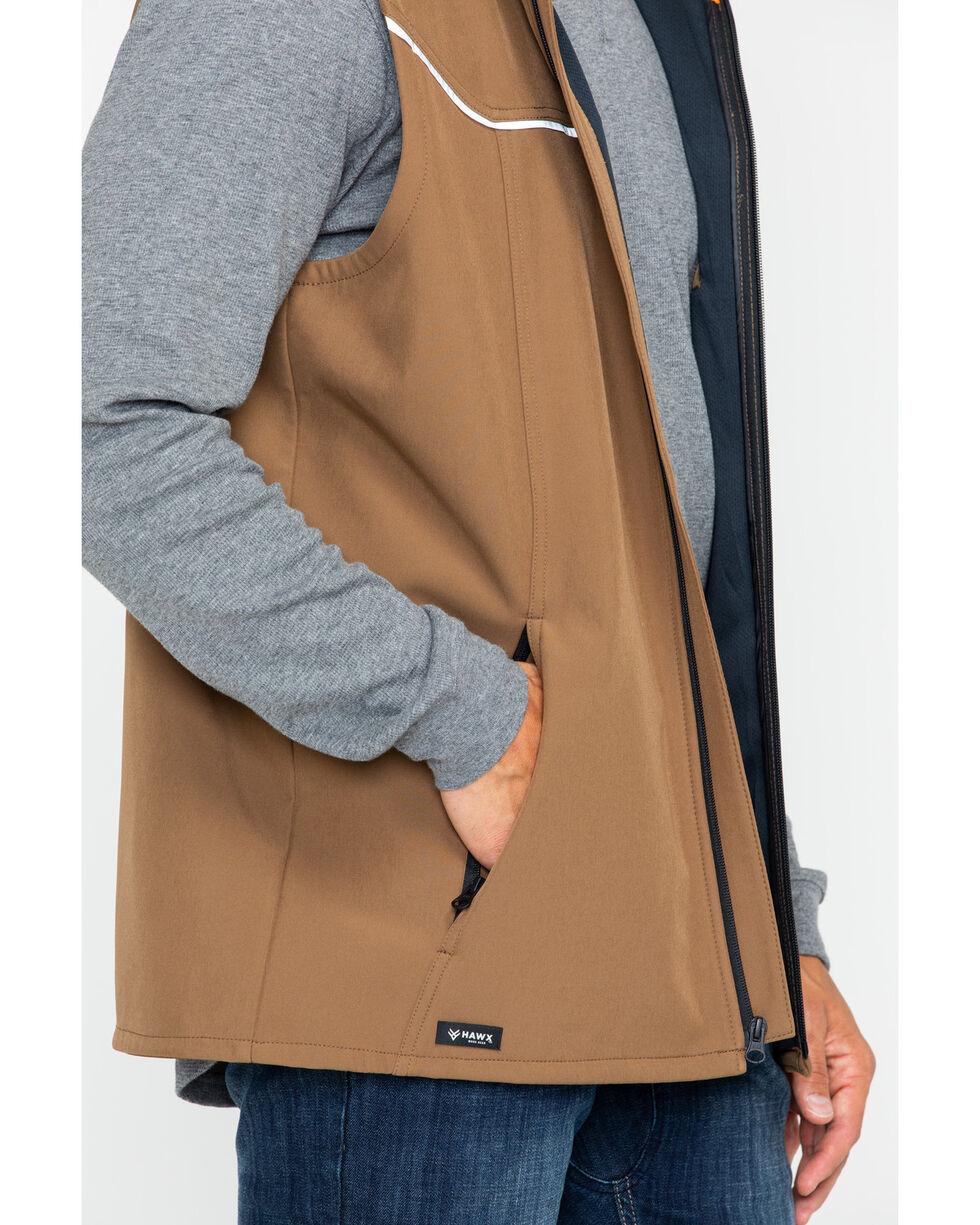 Hawx® Men's Hooded Soft-Shell Work Vest - Big & Tall , Brown, hi-res