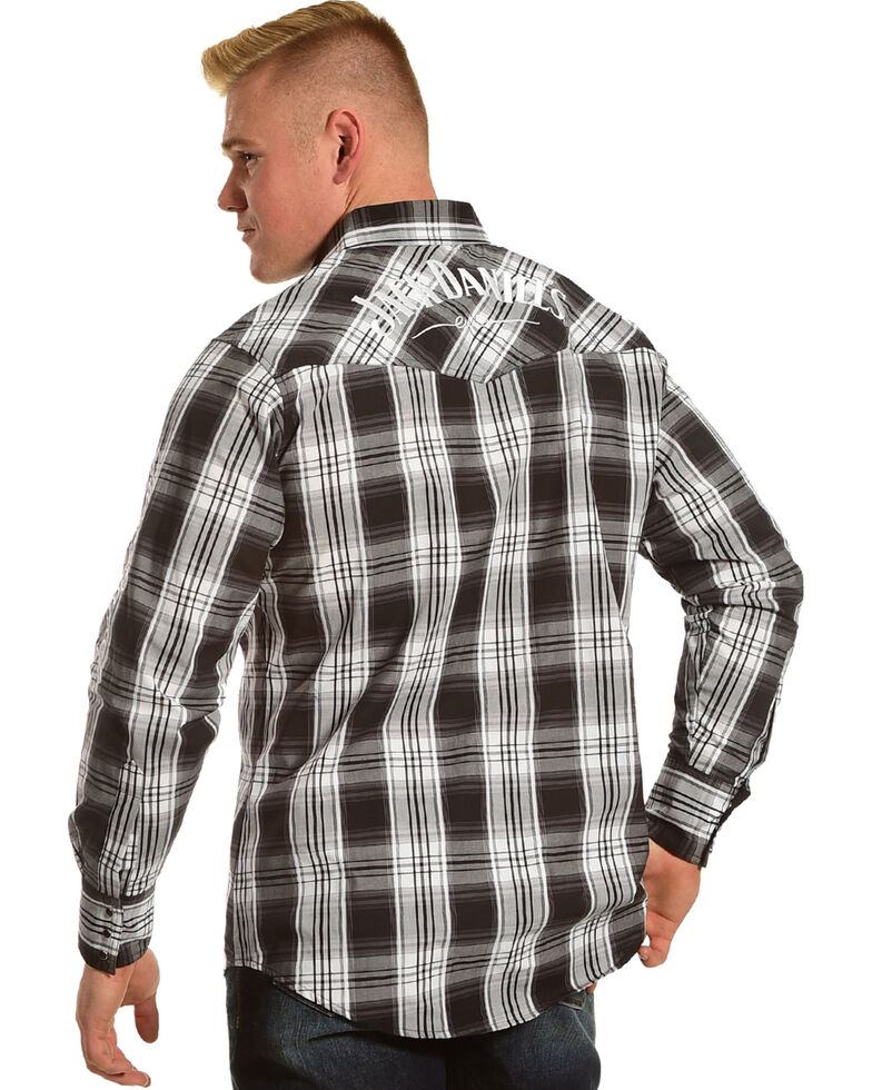 Jack Daniel's Men's Logo Plaid Long Sleeve Western Shirt, Black, hi-res