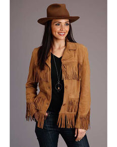 Stetson Women's Tan Suede Fringe Jacket, Tan, hi-res