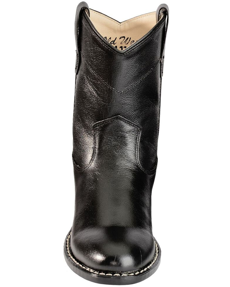 Old West Youth Boys' Roper Cowboy Boots - Round Toe, Black, hi-res