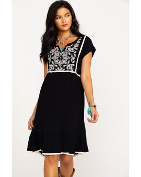 Bila Women's Embroidered Front Short Sleeve Dress  , Black/white, hi-res