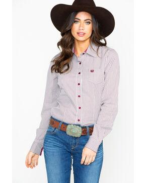 Cinch Women's Stripe Button Down Core Long Sleeve Western Shirt , Burgundy, hi-res