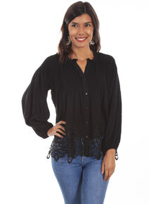Honey Creek by Scully Women's Lace Button Front Blouse , Black, hi-res