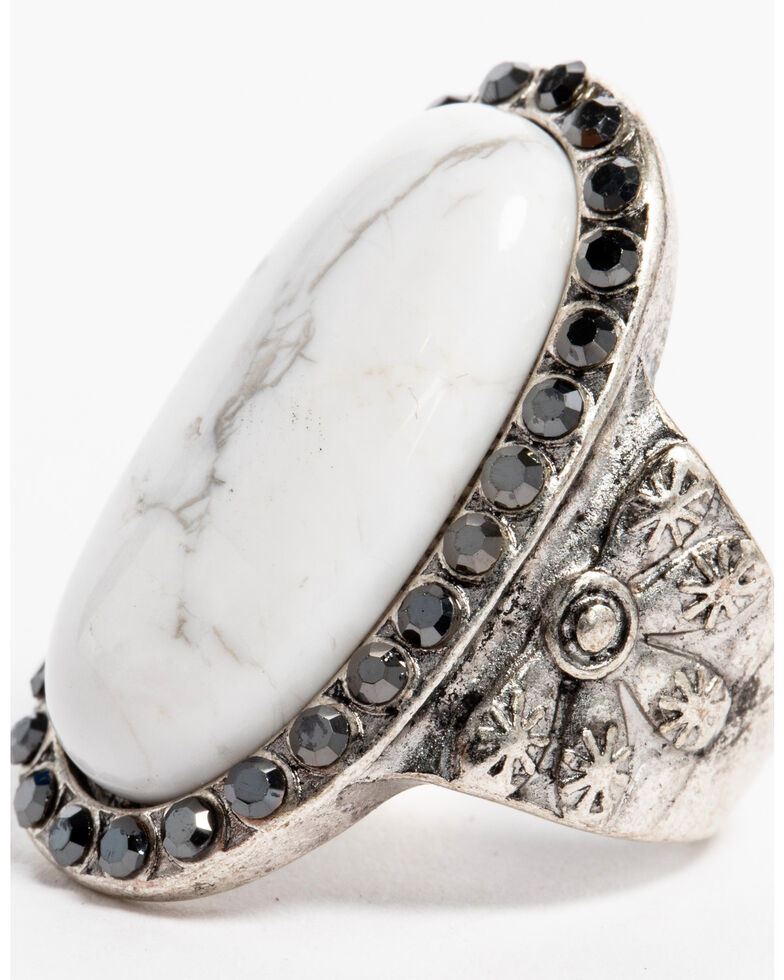 Idyllwind Women's Believe White Turquoise Statement Ring - Size 7, Silver, hi-res