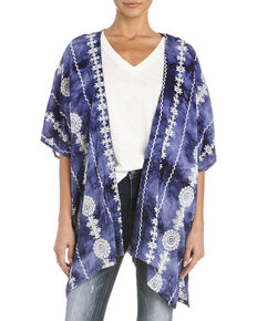 Miss Me Women's Aztec Tie Dye Short Sleeve Kimono, Navy, hi-res