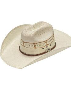 M & F Western Men's Natural West Alamo Bangora Straw Western Hat, Natural, hi-res