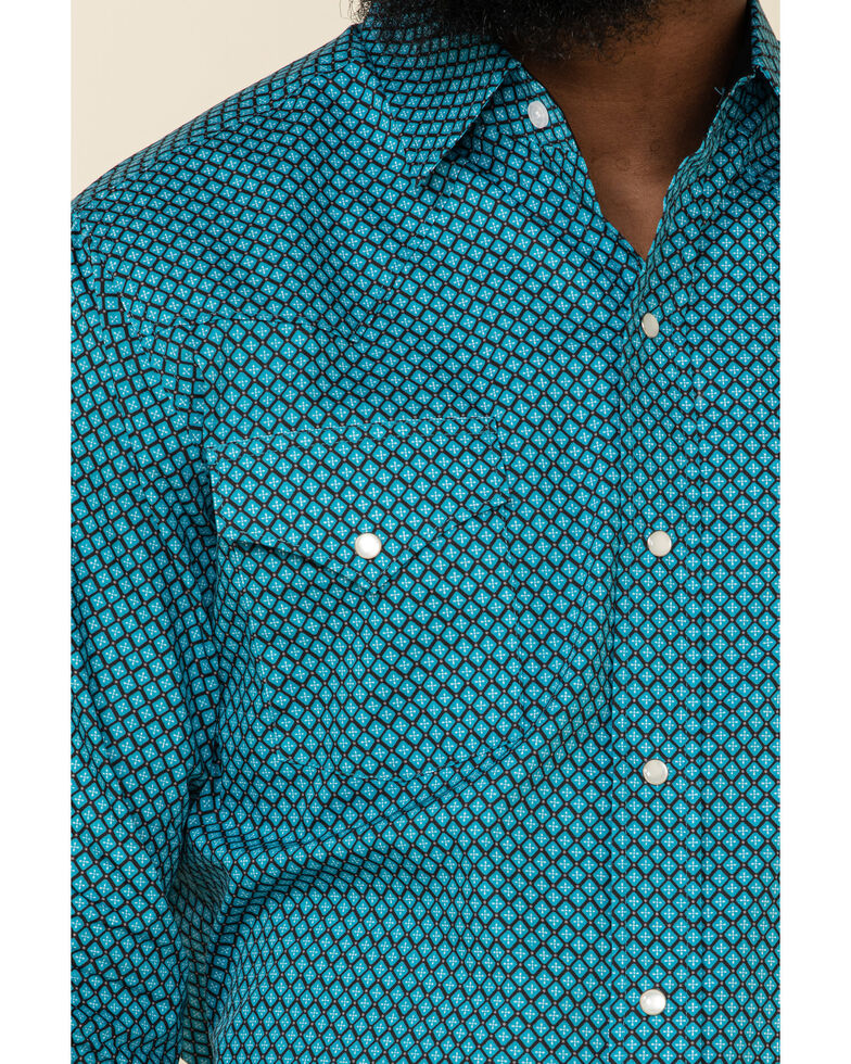 Ely Walker Men's Turquoise Mini Geo Print Long Sleeve Western Shirt , Burgundy, hi-res
