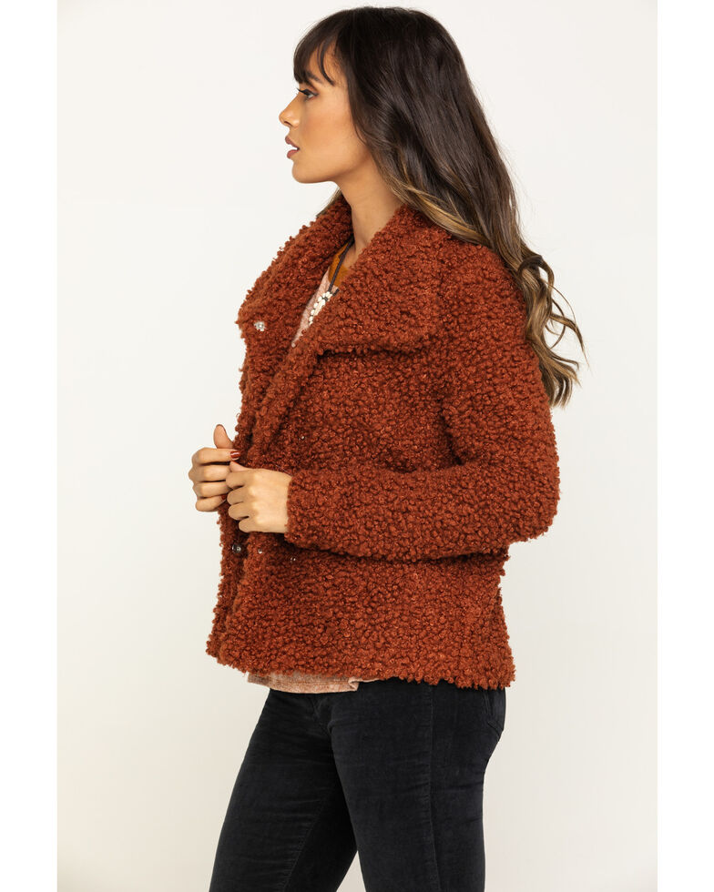Eyeshadow Women's Rust Fuzzy Jacket, Rust Copper, hi-res