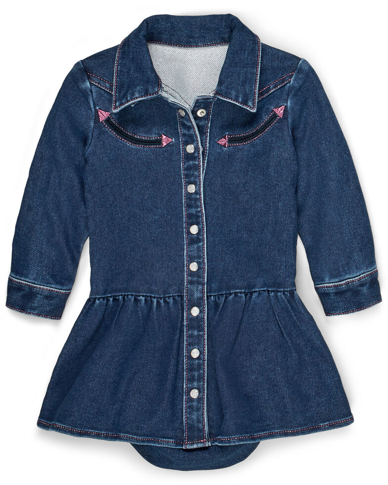 Wrangler Infant Girls' Blue Denim Shirt Dress, Blue, hi-res
