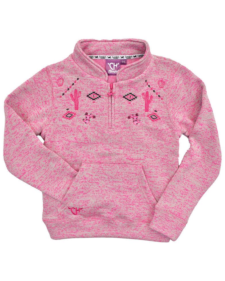 Cowgirl Hardware Girls' Pink Cactus 1/4 Zip Fleece Pullover, Pink, hi-res