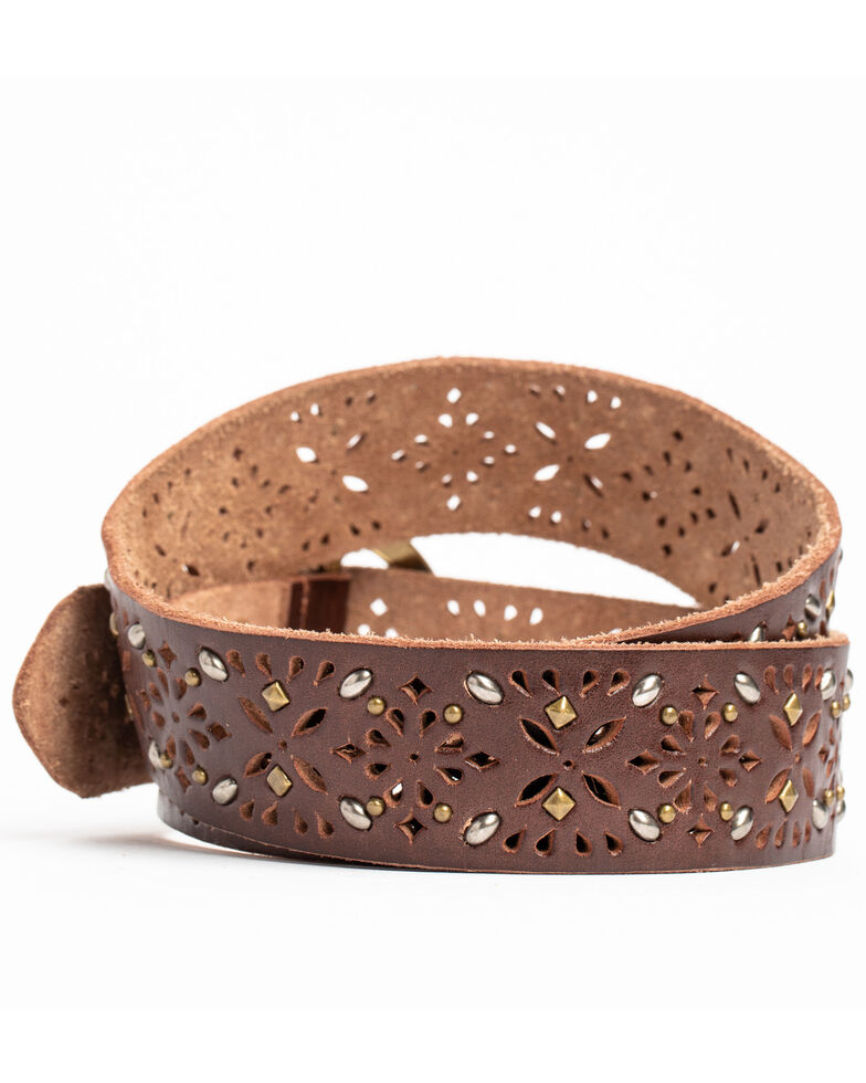 Shyanne Women's Studded & Veg Tanned Leather Belt, Brown, hi-res
