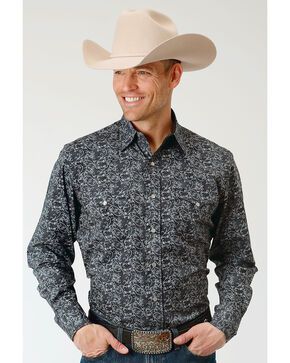 Roper Men's Filigree Pattern Long Sleeve Snap Shirt, Black, hi-res