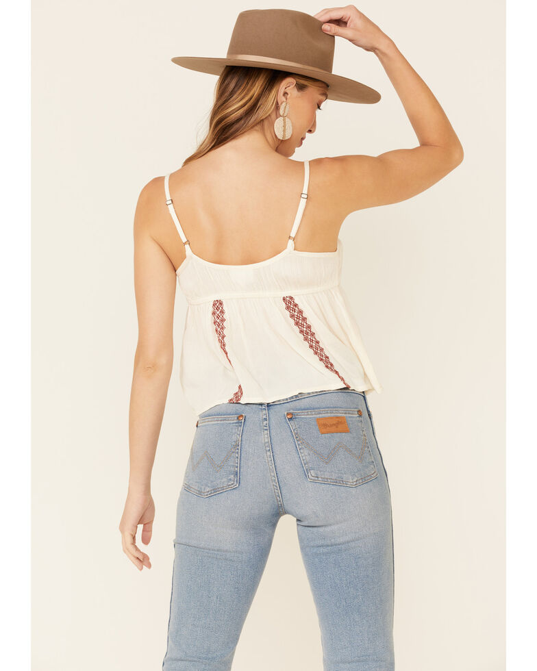 Shyanne Women's Off White Floral Embroidered Cami , Off White, hi-res
