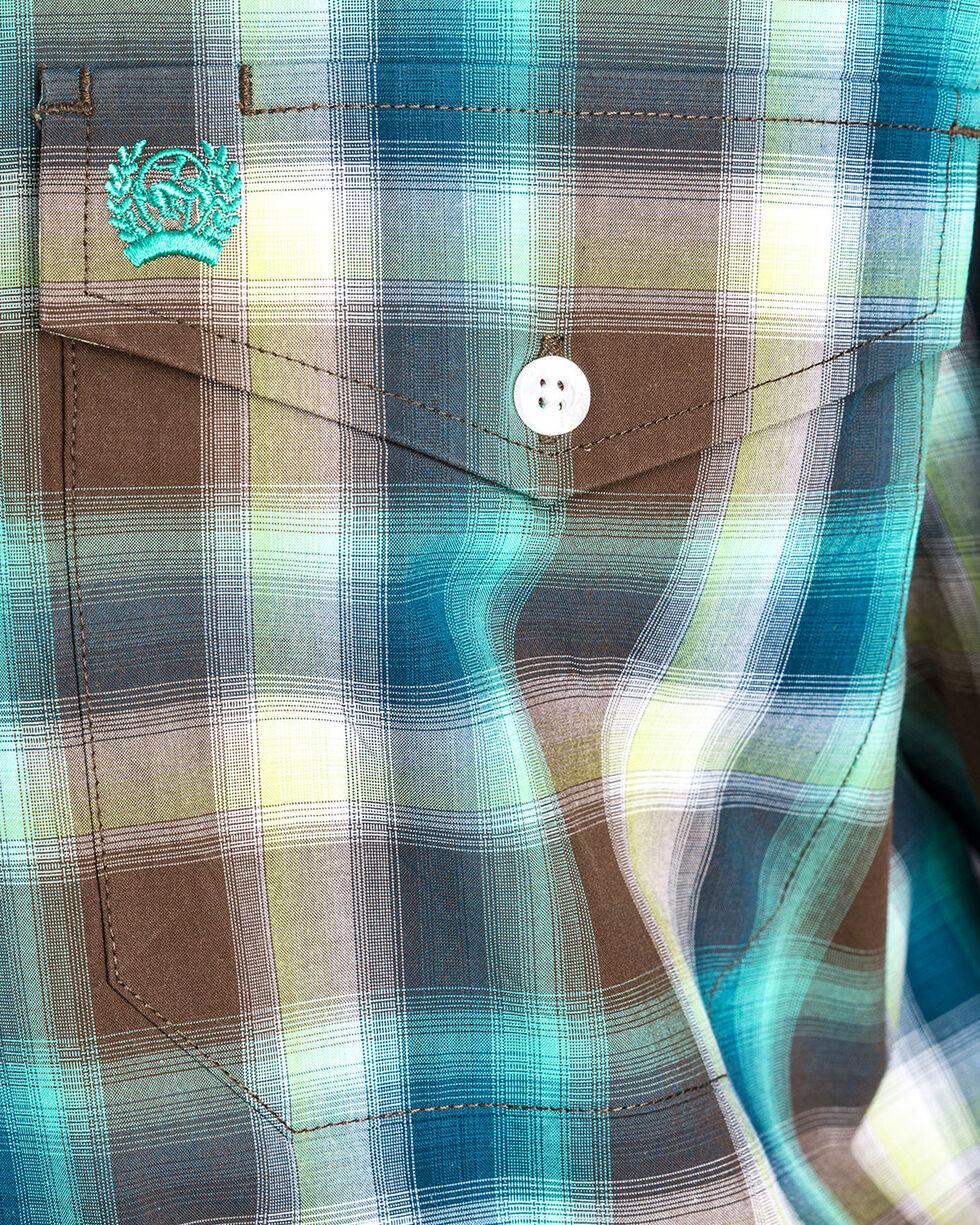Cinch Men's Turquoise Plaid Short Sleeve Western Shirt , Multi, hi-res