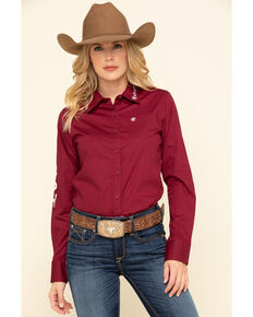 Ariat Women's Burgundy Team Kirby Stretch Shirt , Burgundy, hi-res