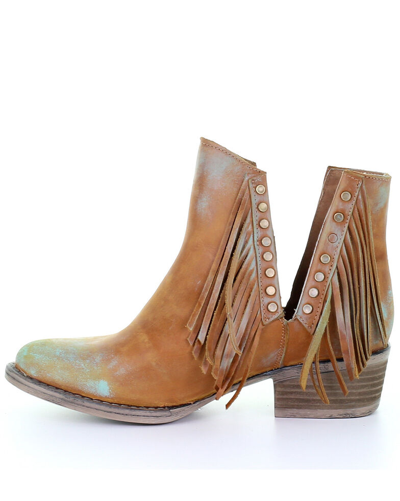 Corral Women's Honey Studs & Fringe Fashion Booties - Round Toe, Honey, hi-res