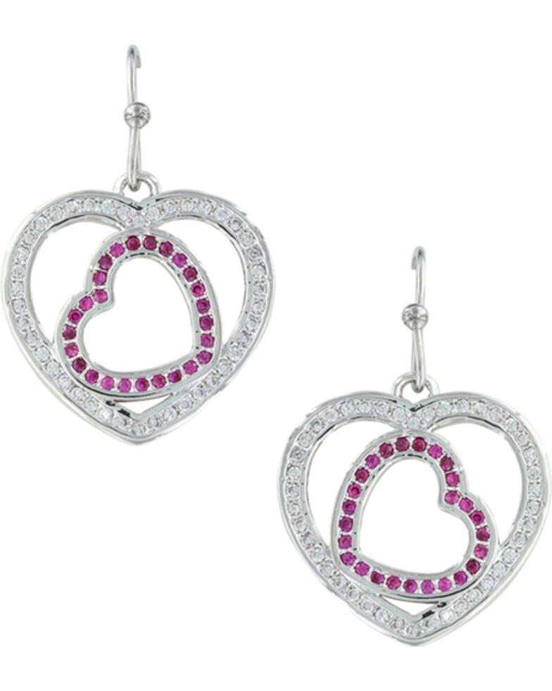 Montana Silversmiths Women's Love's First Blush Heart Earrings , Silver, hi-res