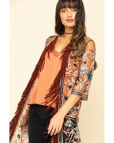 Shyanne Women's Embroidered Mesh Kimono Vest, Rust Copper, hi-res