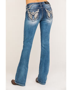 Miss Me Women's Light Angel Wing Bootcut Jeans, Blue, hi-res
