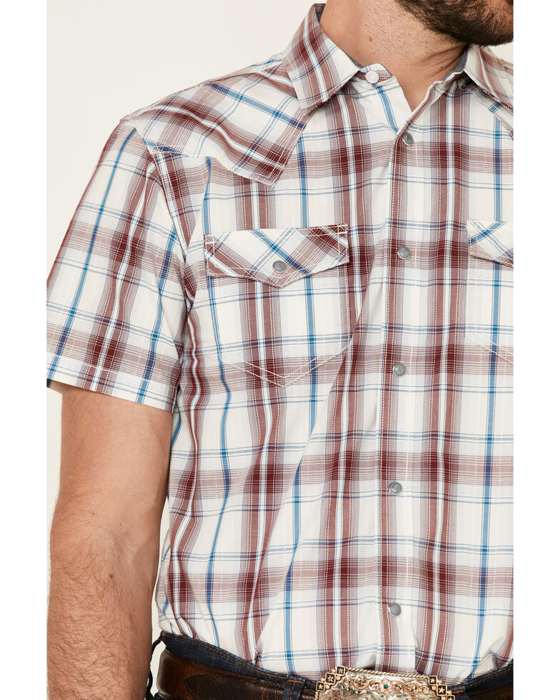 Cody James Men's Barrier Large Plaid Short Sleeve Snap Western Shirt , Burgundy, hi-res