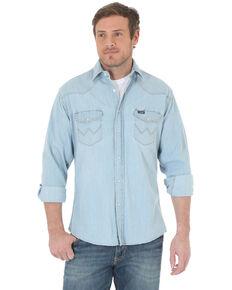 Wrangler Men's Solid Cowboy Cut Long Sleeve Western Shirt , Light Blue, hi-res