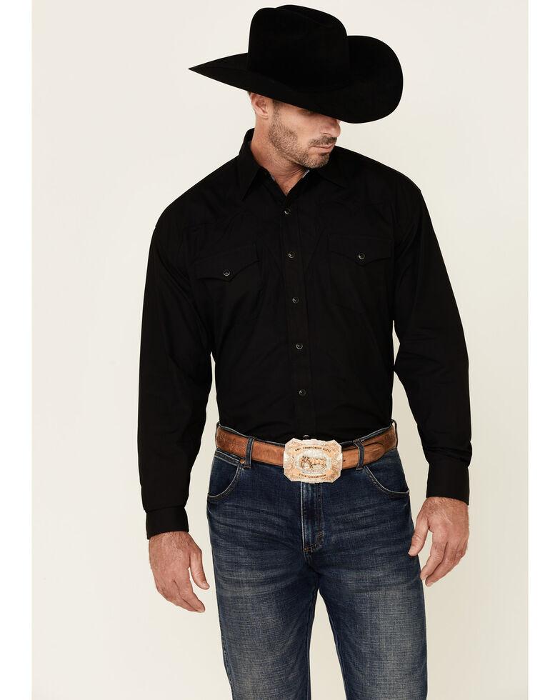 Stetson Men's Solid Black Peach Poplin Long Sleeve Snap Western Shirt , Black, hi-res