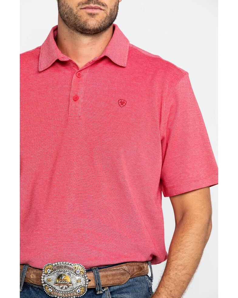 Ariat Men's Red Pique TEK Short Sleeve Polo Shirt , Red, hi-res