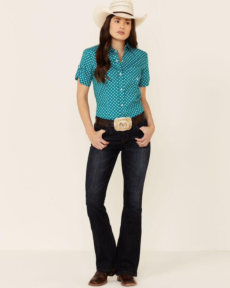 Amarillo Women's Wildwood Mini Paisley Print Short Sleeve Snap Western Core Shirt , Turquoise, hi-res