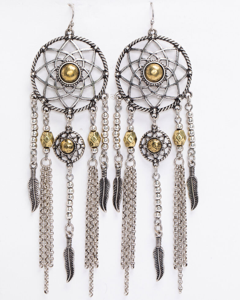 Shyanne Women's 2-Tone Dreamcatcher Earrings, Silver, hi-res