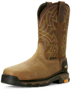 Ariat Men's Intrepid Force Western Work Boots - Composite Toe, Brown, hi-res