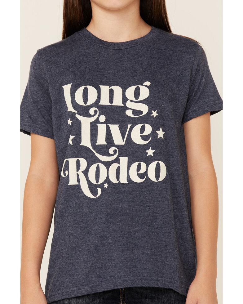 Ali Dee Girls' Heather Navy Long Live Rodeo Graphic Short Sleeve Tee , Navy, hi-res