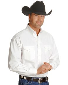Wrangler Men's Painted Desert Solid Twill Long Sleeve Western Shirt, White, hi-res