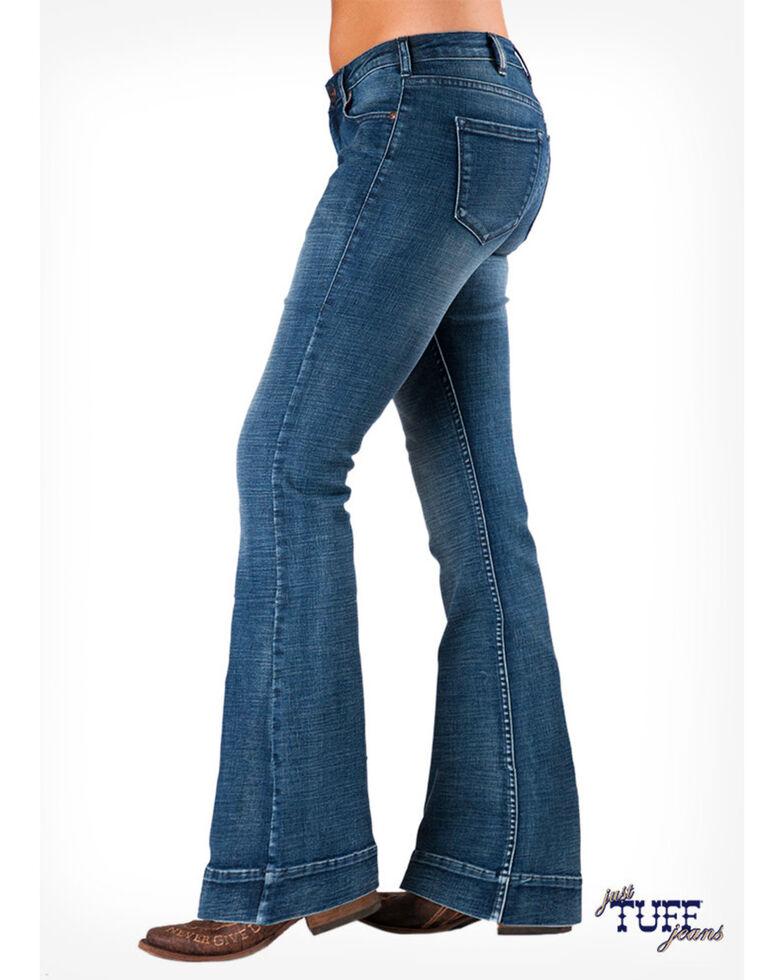 Cowgirl Tuff Women's Medium Wash Natural Waist Trousers, Blue, hi-res