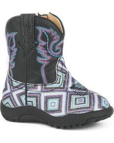 Roper Infant Boys' Cowbaby Glitter Diamonds Pre-Walker Cowboy Boots - Round Toe, Black, hi-res