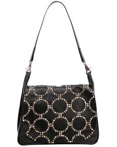 Montana West Women's Studded Hobo Bag, Black, hi-res