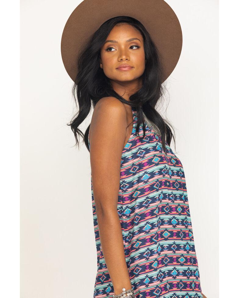 Five Star Women's Blue Aztec Print Tank Dress , Blue, hi-res