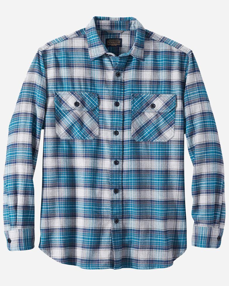 Pendleton Men's Turquoise Burnside Plaid Long Sleeve Western Flannel Shirt , Turquoise, hi-res