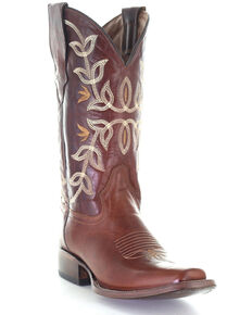 Circle G Women's Cognac Embroidery Western Boots - Square Toe, Cognac, hi-res