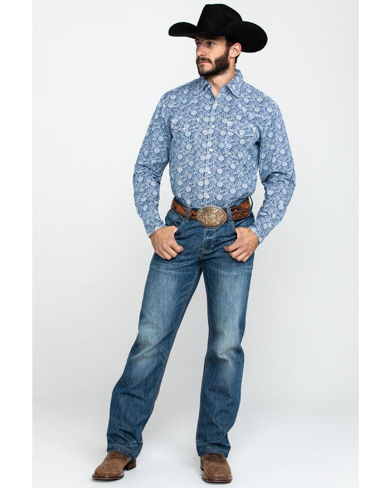 Wrangler 20X Men's Advanced Comfort Navy Paisley Print Long Sleeve Western Shirt , Navy, hi-res