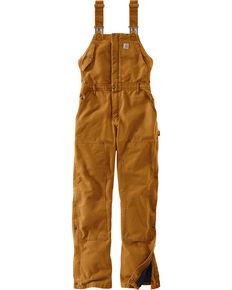Carhartt Women's Weathered Duck Wildwood Bib Overalls , Pecan, hi-res