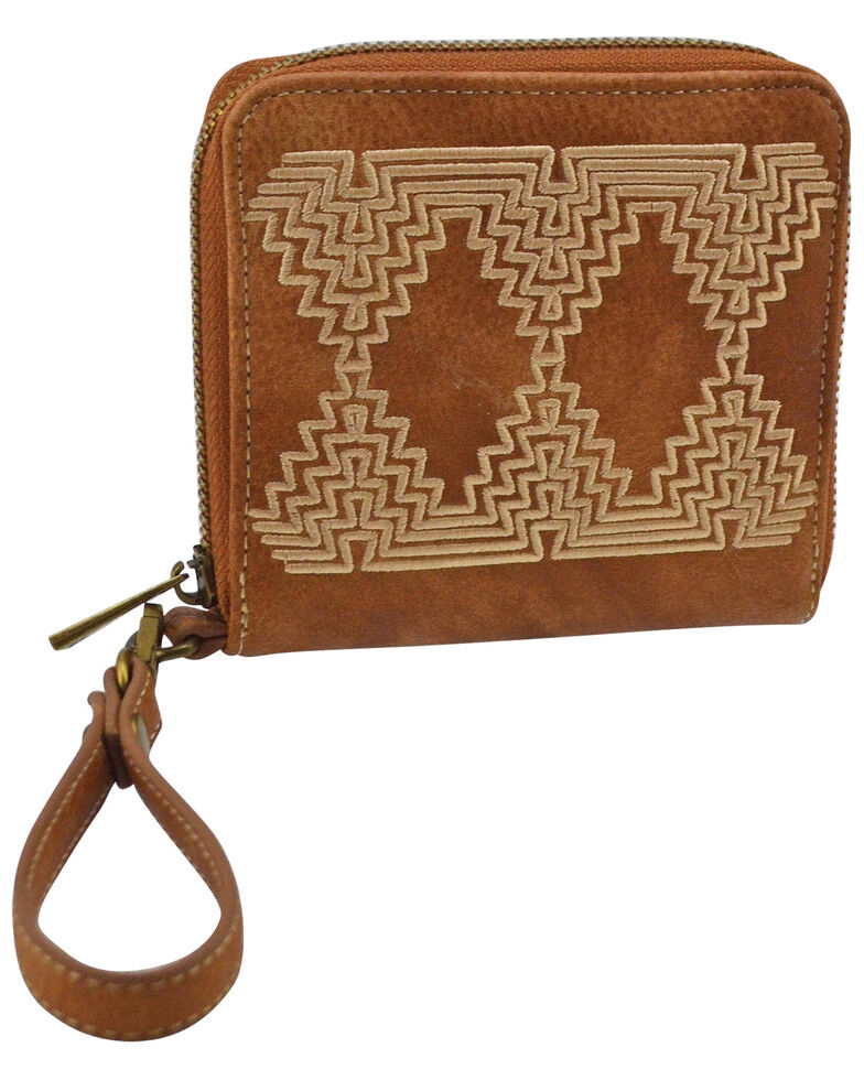 Catchfly Women's Courtney Aztec Saddle Wallet *DISCONTINUED*, Brown, hi-res