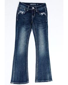 Grace In LA Girls' Dark Floral Horseshoe Embellished Bootcut Jeans, Blue, hi-res