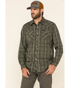 ATG By Wrangler Men's Forest Green Plaid Utility Long Sleeve Western Shirt , Green, hi-res