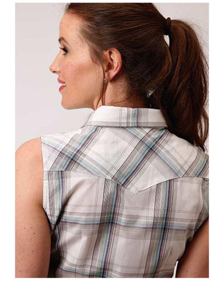 Roper Women's White Plaid Sleeveless Snap Western Shirt , White, hi-res