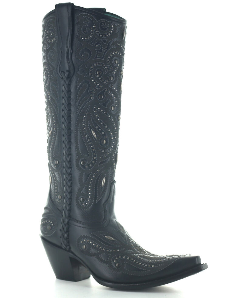 Corral Women's Black Laser & Embroidery Western Boots - Snip Toe, Black, hi-res