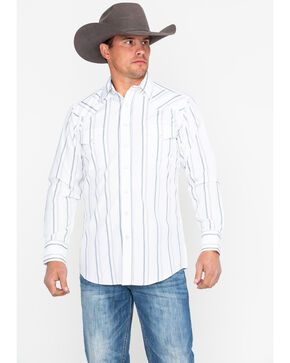 Panhandle Men's White Stripe Long Sleeve Western Shirt, White, hi-res