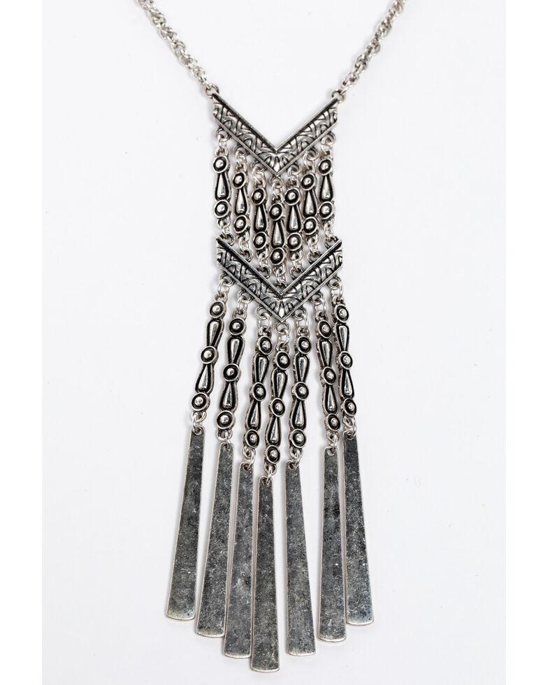 Shyanne Women's Isla Jane Chevron Chain Fringe Necklace, Silver, hi-res