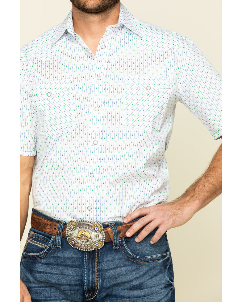 Rough Stock By Panhandle Men's Loudon Striped Geo Print Short Sleeve Snap Western Shirt , White, hi-res