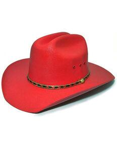 Bullhide Kids Red Linen Straw Western Hat , Red, hi-res